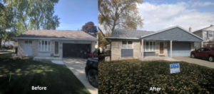 New Gable Roof Over Front Porch and Garage Before and After Comparison Westland