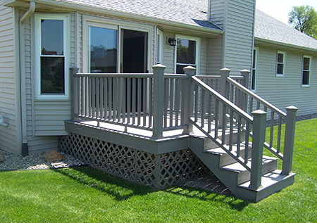 New composite deck with rails